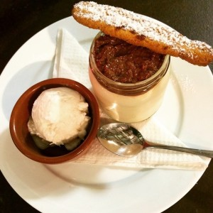 cocnut bavarios, chocolate ganache with toasted coconut, coconut shortbread & coconut gelato