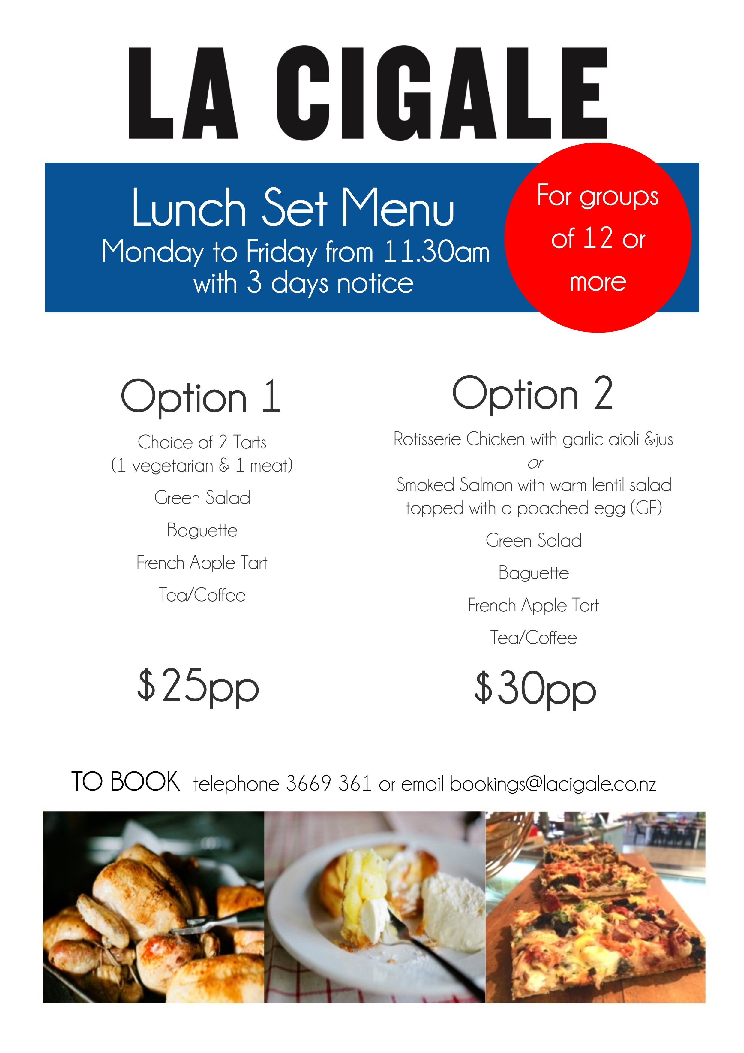 lunch menu for groups 2015