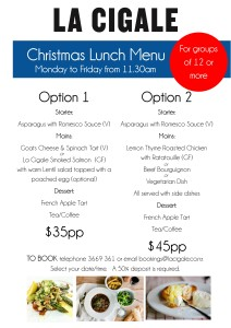 xmas lunch menu 2015