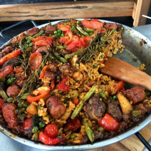 paella with meatballs