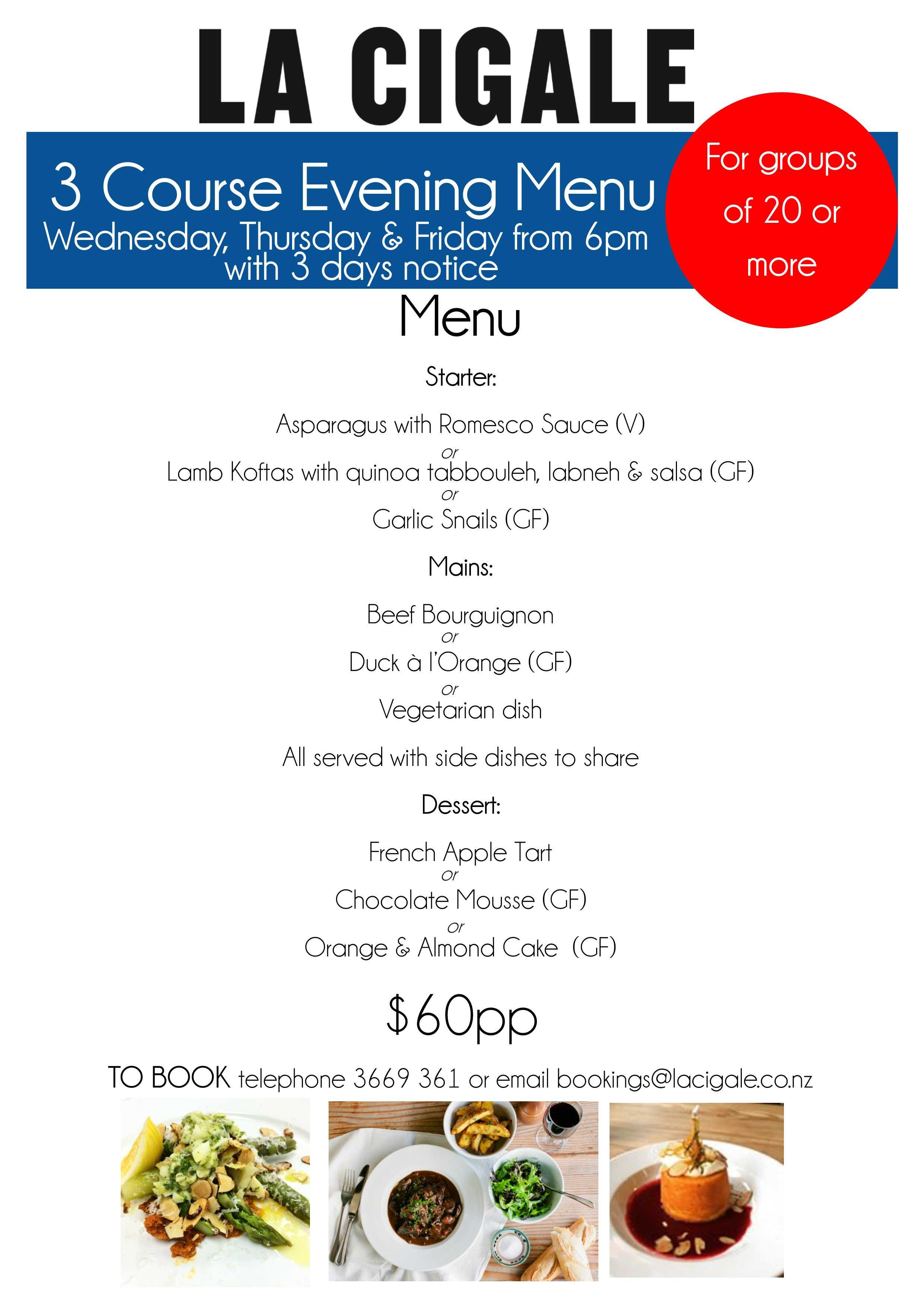 evening menu for groups 2015