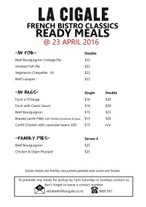 ready meals price list