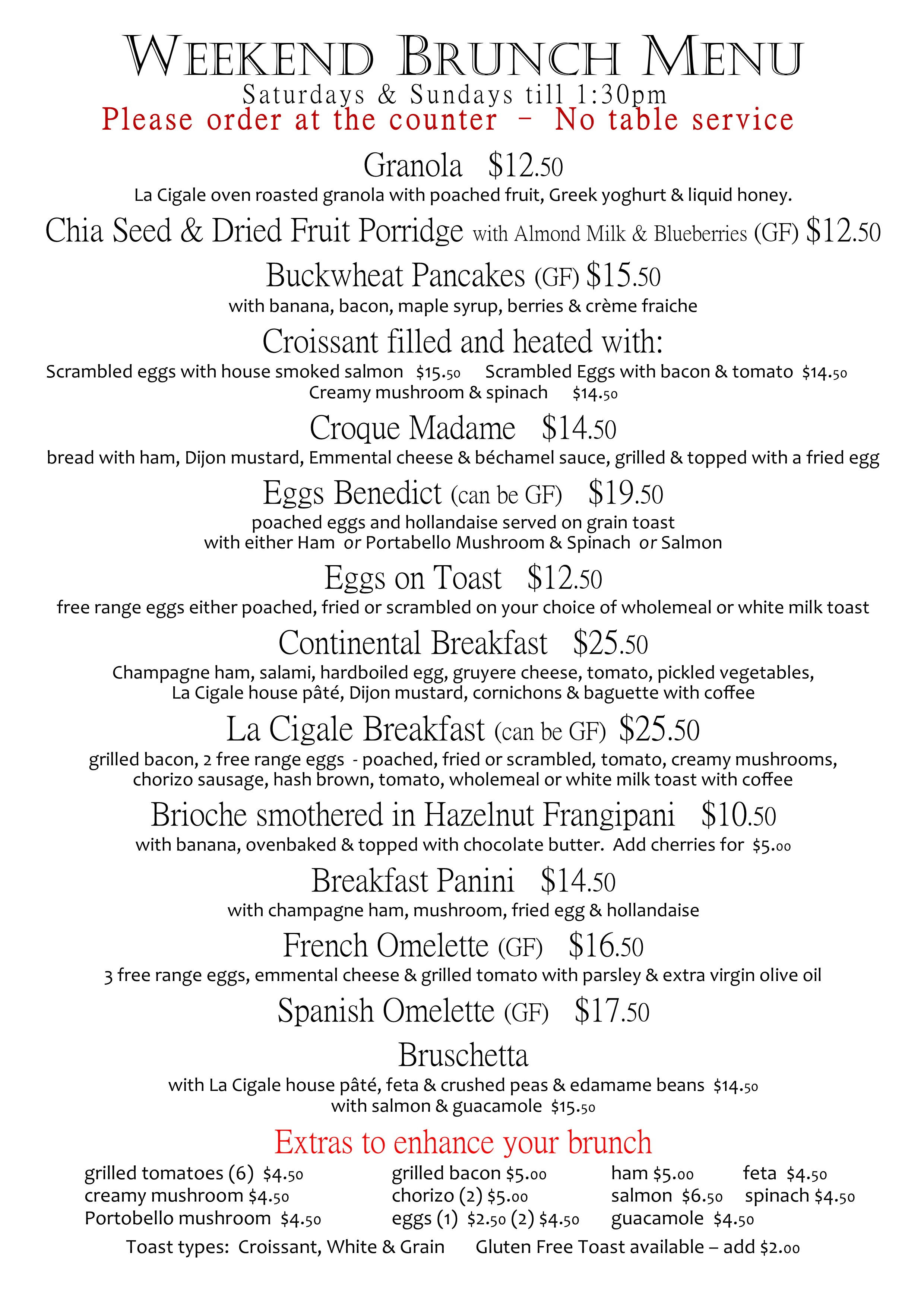 weekend brunch menu 2016